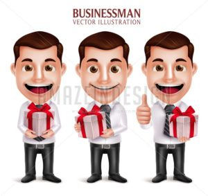 Business Man Vector Character Holding Red Gift Box