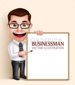 Business Man Vector Character Holding White Board