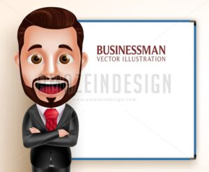 Business Man Vector Character Presentation
