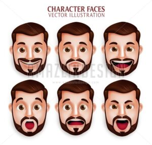 Set of Man Head Facial Expression Vector