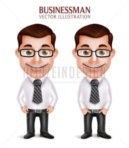 Happy Smiling Vector Business Man Character