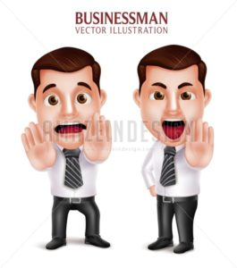 Business Man Vector Character Afraid