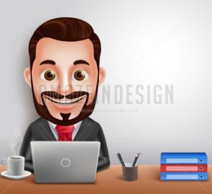 Vector Character Busy Working in Office Desk
