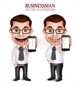 Vector Character Holding Mobile Phone Business Man