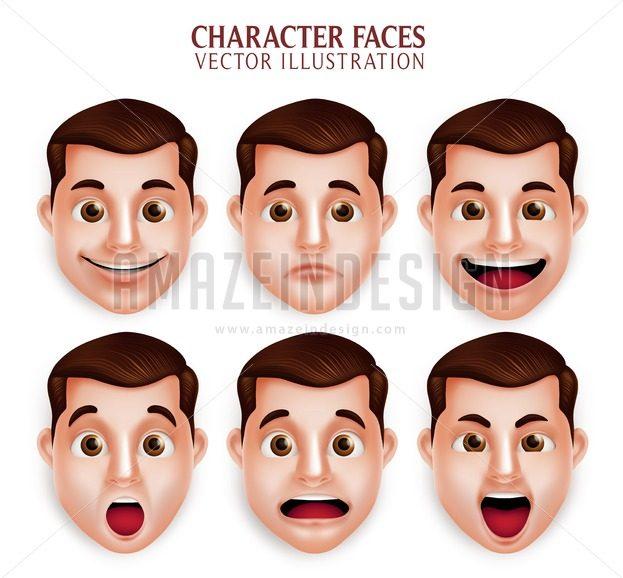 Vector Character Man Facial Expressions