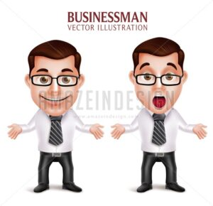 Business Man Vector Character Shocked