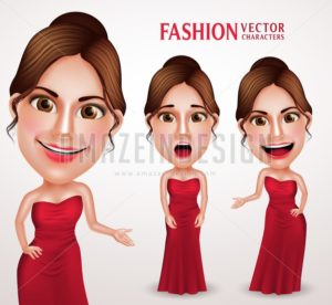 Beautiful Woman Vector Character Wearing Red Gown Dress