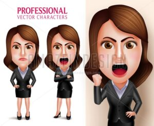 Business Woman Vector Character Angry and Mad