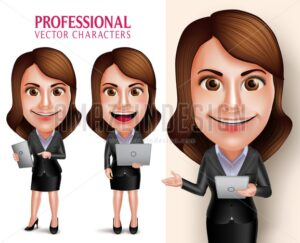 Business Woman Vector Character Holding Mobile Tablet