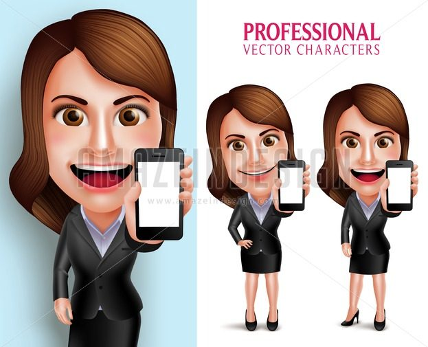 Business Woman Vector Character Showing Mobile Phone