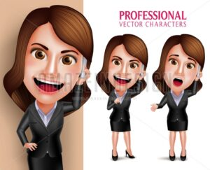 Business Woman Vector Character Talking in Mobile Phone
