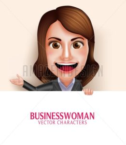 Business Woman Vector Character with Friendly Smile