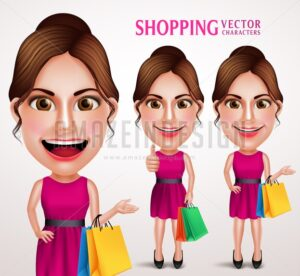 Fashion Woman Vector Character Holding Shopping Bags