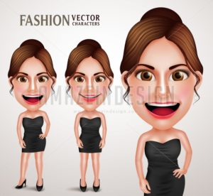 Fashionable Woman Vector Character Posing Like Model
