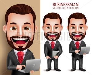 Happy Business Man Vector Character Holding Laptop