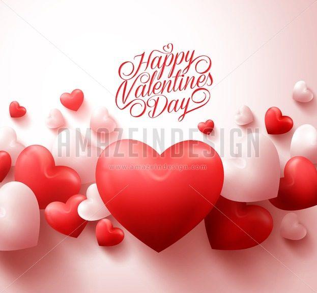 Hearts Happy Valentines Day Background Vector - Amazeindesign