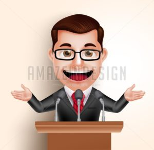 Politician Man or Speaker Vector Character
