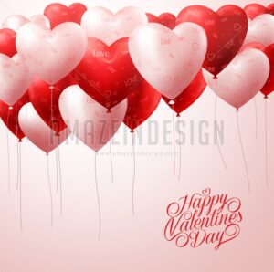Red Heart Balloons Flying for Valentines Vector
