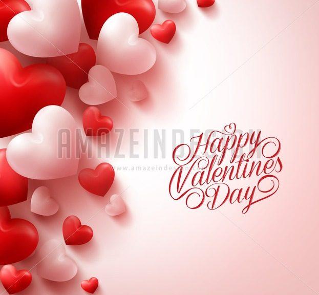 Red Hearts Happy Valentines Day Vector Background - Amazeindesign