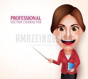 School Teacher Vector Character Holding Books - Amazeindesign