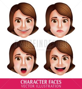 Vector Face of Woman Head Character with Expressions