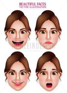 Beautiful Woman Vector Faces with Makeup