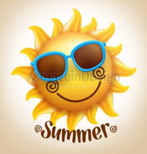 Smiling Cute Sun Vector in Colorful Sunglasses - Amazeindesign