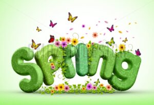 Spring 3D Rendered Text Poster Design Illustration - Amazeindesign
