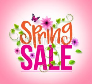 Spring Sale Vector Design with Colorful Flowers