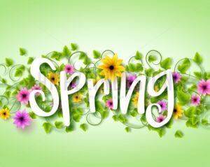 Spring Text Design with Vector Flowers and Vines - Amazeindesign