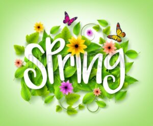 Spring Title Text with Vector Green Leaves in the Background - Amazeindesign