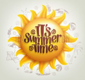 Vector Sun with Summer Time Title
