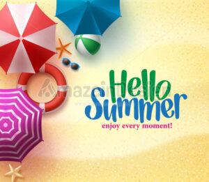 Hello Summer Background with Colorful Umbrella - Amazeindesign