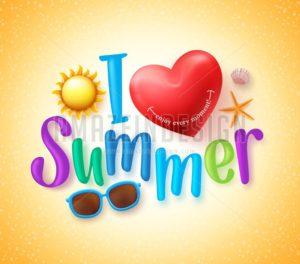 I Love Summer Vector Design Concept