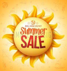 Vector Sun with Summer Sale Discount Text