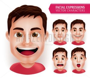 Set Man Head Emotions with Different Facial Expressions