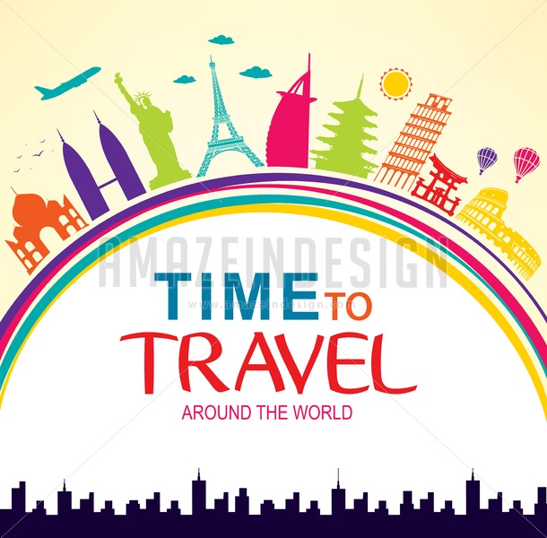 Time To Travel Around The World Vector