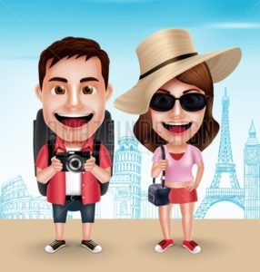 Tourist Traveler Couple Vector Characters