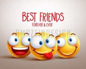 Best Friends Smiley Face Vector Design Concept - Amazeindesign