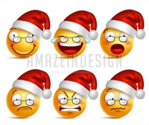 Christmas Smiley Face of Santa Claus Vector Icons - Amazeindesign