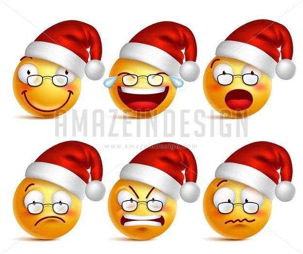 christmas smiley face of santa claus vector icons amazeindesign - Christmas Smiley Faces