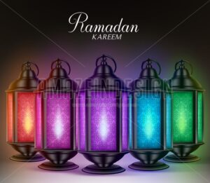 Colorful Set of Ramadan Lanterns or Fanous in Vector - Amazeindesign