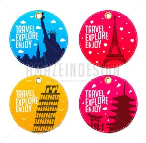 Colorful Travel Explore Enjoy Round Tags - Amazeindesign
