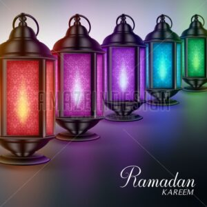 Colorful Vector Ramadan Lanterns or Fanous - Amazeindesign