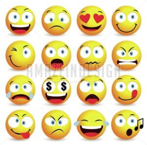 Emoticon Vector Set and Smiley Face - Amazeindesign