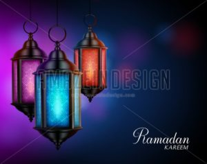 Lanterns or Fanous with Ramadan Kareem Greetings - Amazeindesign