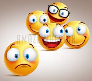 Lonely Smiley Face Vector Character Concept - Amazeindesign