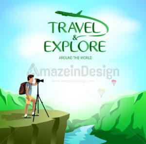 Man Traveler Taking Picture - Amazeindesign