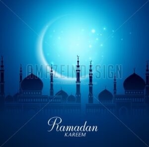 Mosque Vector and Crescent Moon for Ramadan - Amazeindesign