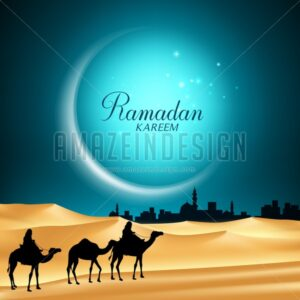 Ramadan Vector Background of Moon with Camels - Amazeindesign